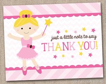 Pink Ballerina Girls Printable Thank You Card Design Blonde INSTANT DOWNLOAD