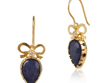 Bow Earrings with Saphire drops