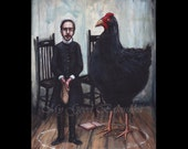 The Devonshire Vicar and the Big Black Hen, Original Painting, Illustration, Witchcraft, Dark Arts, Magic, Black Arts, Magic Trick, Macabre