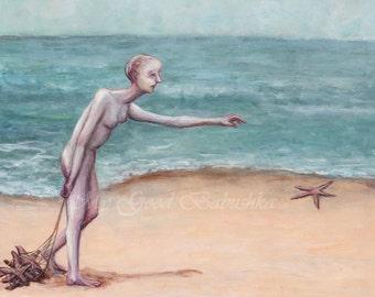 Sea Stars, Original Painting, The Sea Star Collector, Beach, Sea Shore, Ocean, Starfish, Surreal, Nautical, Net, Fisherman, Fairy Tale