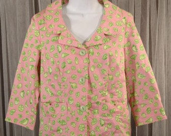 Tropical Shell Pink and Lime Green Jacket Size Small b36