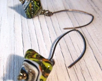 Glass Earrings / Green Chartreuse Orange / Murano Lampwork