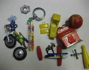 Vintage Plastic Toy Parts Puzzle Car One Armed Bandit Lot Altered Art Assemblage Steampunk Supplies SALE
