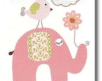 Elephant nursery art Kids wall art baby nursery decor nursery wall art children print Baby Girl  art owl nursery pink and green art