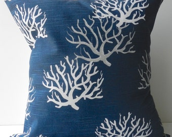 New 18x18 inch Designer Handmade Pillow Case in white and grey coral on navy