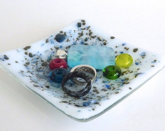 White Fused Glass Small Dish with Aquamarine and French Vanilla Frit