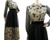 60s 70s Dress Vintage Paisley Chiffon Gold Black Midi Cocktail Party M