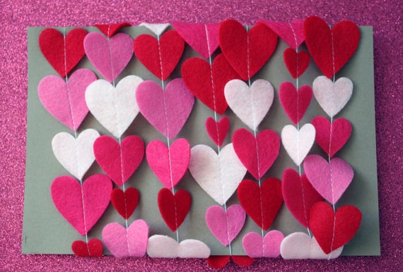 Valentine's Day Felt Heart Garland - Pink and Red Heart Garland - Photo Prop - Party Decoration