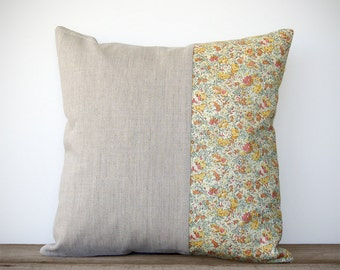 Pastel Floral Decorative Pillow Cover - Spring Home Decor by JillianReneDecor (16x16) | Liberty Print | Shabby Chic | Nursery | Mother's Day