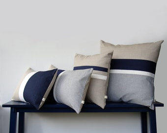 Navy & Chambray Striped Colorblock Pillow Cover Set of 4 - Modern Home Decor by JillianReneDecor
