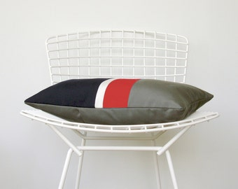 OUTDOOR Colorblock Pillow Cover (Custom Colors) - Modern Decor by JillianReneDecor - Gray, Red, White & Blue - Patriotic - Nautical