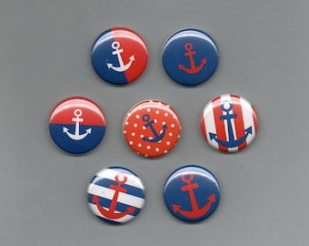 Nautical Anchors Pinback Buttons set of 6