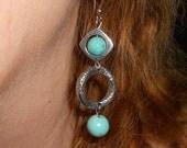 Turquoise earrings, Long silver and turquoise earrings, gift, bohemian earrings, boho jewelry