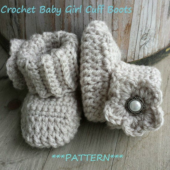 Crochet Hat Pattern With Cuff : PATTERN ONLY Crochet baby girl boots PATTERN cuff boot with