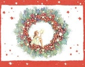 Christmas Cards, Holly Berry, Fairy in Holly Wreath, 8 cards and 8 envelopes