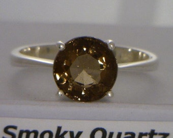 Cocoa Brown Smoky Quartz Handmade Sterling Silver Ladies Solitaire Ring size 9