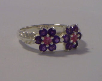 Amethyst and Pink Sapphire Flower Handmade Sterling Silver Ladies Ring size 8.5