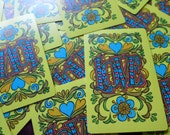 Groovy Yellow Vintage 70's Love Playing Cards