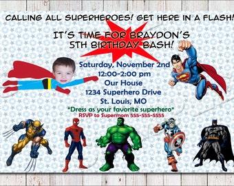 Superhero Birthday Invitation-PRINTABLE