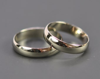 Couple's Ring Set 14K Palladium White Gold 4x1mm Half Round Rings, Unisex, Recycled Gold Bands, sizes 6-8 this listing, Sea Babe Jewelry