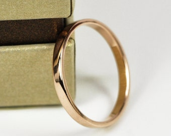 Simple Wedding Ring in Solid 18K Rose Gold, Mirror Finish, 2mm Wide, Handmade by Sea Babe Jewelry