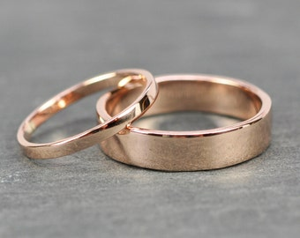 Rose Gold Wedding Band Set, 2mm and 5mm Rings, 14K Rose Gold, Smooth Polished, Sea Babe Jewelry