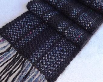 Handwoven Handspun Wool and Alpaca Scarf, Black Grey Scarf, Black Wool Scarf, Black Alpaca Scarf, Men's Muffler, Women's Scarf- #10-20