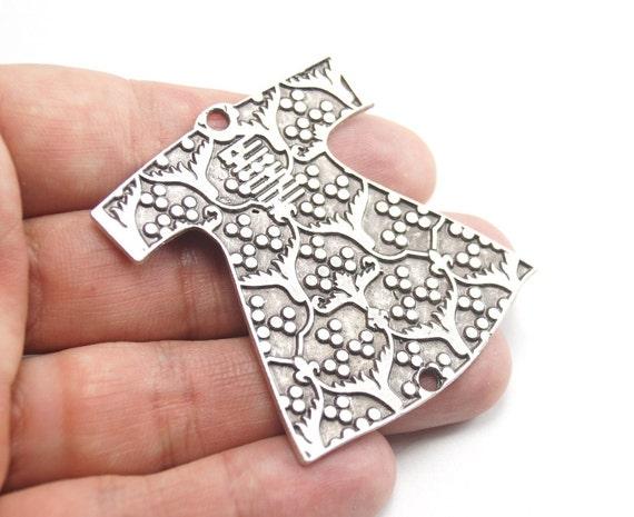 1 pc Matte Oxidized Silver Plated Base Ottoman Pendant - Caftan 55x45mm