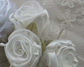 36pc Chic IVORY Satin Organza Ribbon Wired Rose Peony Flower Reborn Doll Bridal Wedding Bow Hair Accessory Applique