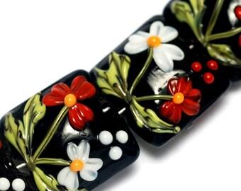 Glass Lampwork Bead Set - Four Maria's Bouquet Pillow Beads 10205014
