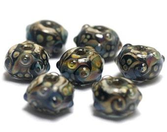 Handmade Glass Lampwork Bead Set - Seven Transparent Dark w/Rainbow Rondelle Beads 10902301