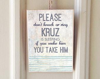 Personalized Wooden Door Sign | Baby Is Sleeping