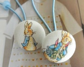 Handmade Country Woodlands White Blue Peter Rabbit Animal Story Girl Fabric Buttons Ponytail Holder Elastic Hair Ties