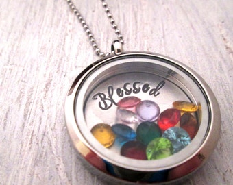 Blessed Necklace - Charm Locket - Floating Charm Locket - Grandmother Necklace - Blessed Locket