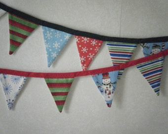 """Approx. 42"""" long Bed headboard, Office Cubical etc., Decoration - Christmas Fabric Bunting Banner"""