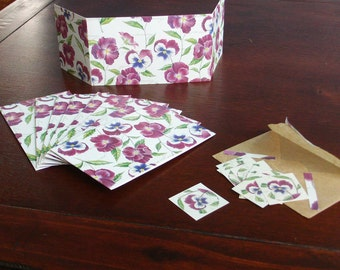 10 purple posies trifold notecards with matching envelopes