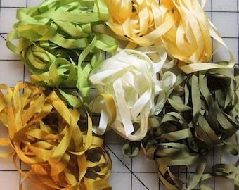 RibbonSmyth Regal Gold and Green silk ribbon combo pack 25 yards