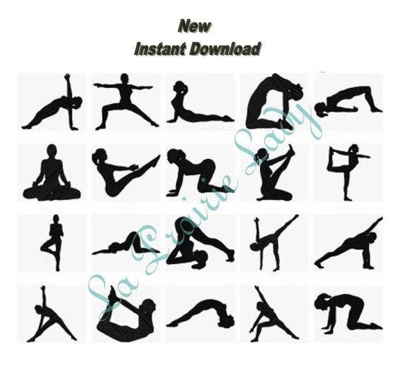 Yoga positions silhouettes machine embroidery design