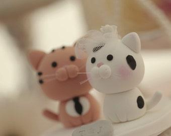 cat wedding cake topper,kitty Wedding Cake Topper---k860