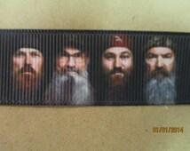 Black Background Duck Dynasty Ribbon   7/8 Inch Grosgrain Ribbon