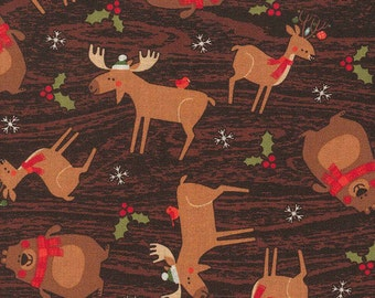 Holiday Woodland Friends Fabric By The Yard FBTY