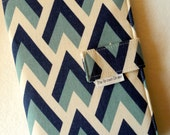 Fabric Notebook Organizer with Pockets, Pad, and Pen, Navy and Powder Blue Geometric Print