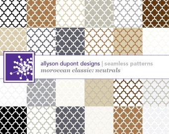 Moroccan Classic Digital Pattern Pack (Photoshop) - Neutral Colors - Brown, Black, White, Ivory, Gray & Beige