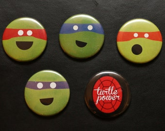 Ninja Turtles BUTTON set - TMNT - Teenage Mutant Ninja Turtles - Leonardo Donatello Michelangelo Raphael Ninja Turtle gift present birthday