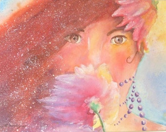 Original Watercolor Painting * FLUER In The WIND * Art by Rodriguez * Wall Hanging