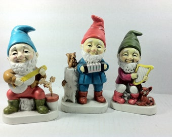 Vintage Homco Elves or Gnomes Playing Instruments..Paper Mache Elves..Paper Mache Gnomes..Vintage Gnome Figurines