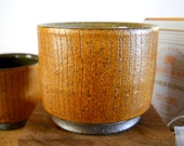 Wood fired cup with bronze slip and thin etched lines