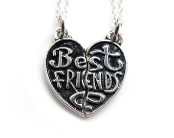 Classic Best Friends Silver Necklace - bff friendship keepsake - Friends forever apart or together (R2I1)