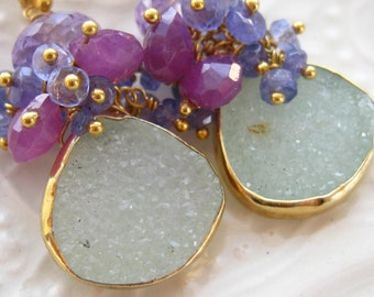 Drusy and Gemstone Earrings-Sugared Mint