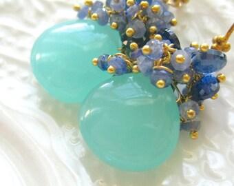 Aqua Chalcedony earrings Chalcedony and Blue Sapphire earrings